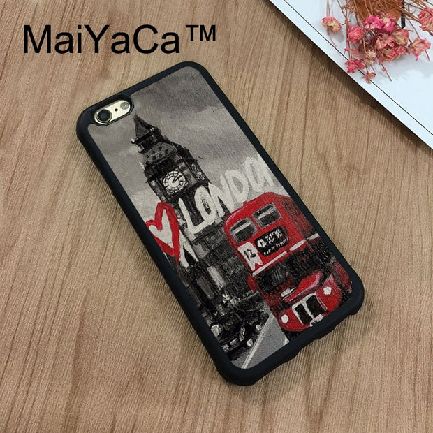 MaiYaCa I Love London Big Ben Bus England Phone Cases For IPhone 7 Shell Hard Plastic Phone Case Soft Rubber Edge Back Cover