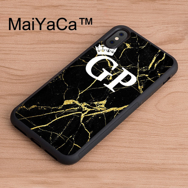 MaiYaCa Initials Marble Gold White Custom Printed TPU Back Case For IPhone X Soft Rubber Cover For IPhone X Case Phone Cases