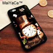 MaiYaCa Mad Hatter Clock Alice Printed Soft TPU Case For Iphone 8 Soft Rubber Phone Case For IPhone 8 Bags Fundas Cover