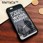 MaiYaCa Nobody Cares Work Harder Quote Gym Workout Soft TPU Case For Iphone 8 Soft Rubber Phone Case For IPhone 8 Bags Cover
