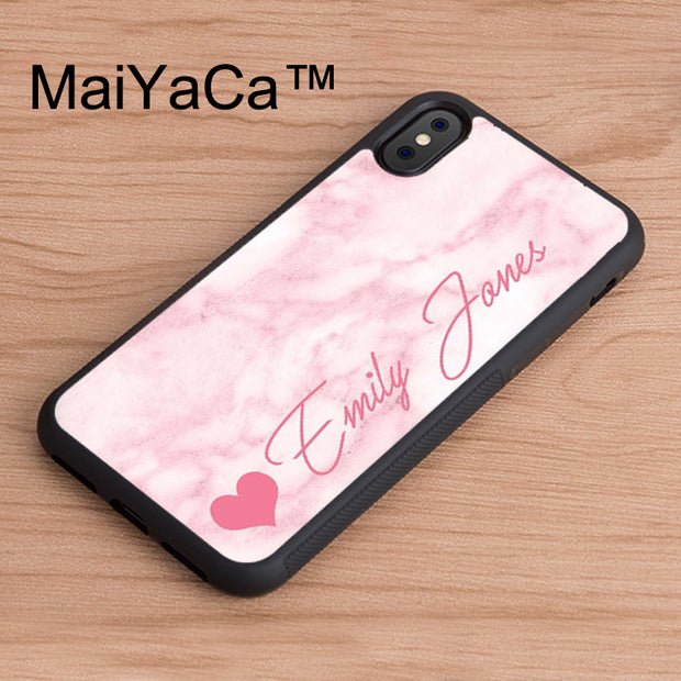 MaiYaCa Personalised Marble Pink Heart Signature Initial Custom Back Phone Case For IPhone X Soft TPU Case For IPhone X Cover