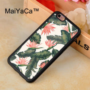MaiYaCa Tropical Palm Tree Banana Leaves Printed Phone Case For IPhone 8 Capa Fundas Case For Apple Iphone 8 Back Shell Cover