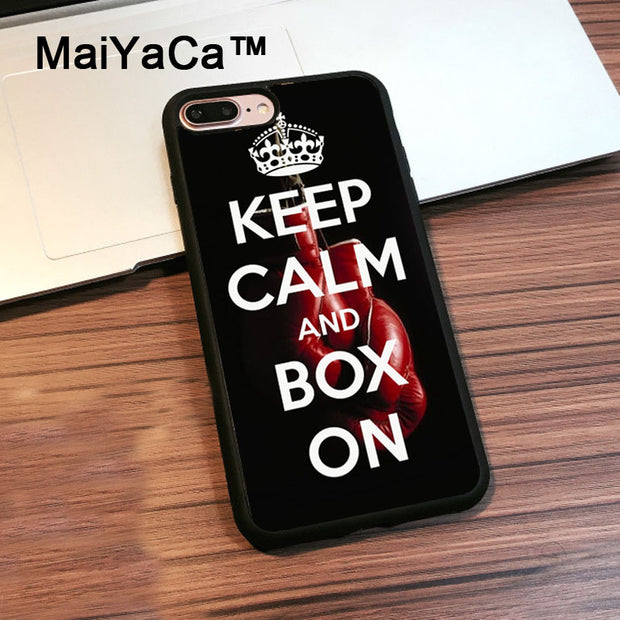 MaiYaCa Keep Calm And Box TPU Case For IPhone 8 Plus Cover Coque Soft Black Rubber Case For IPhone 8 Plus Shell