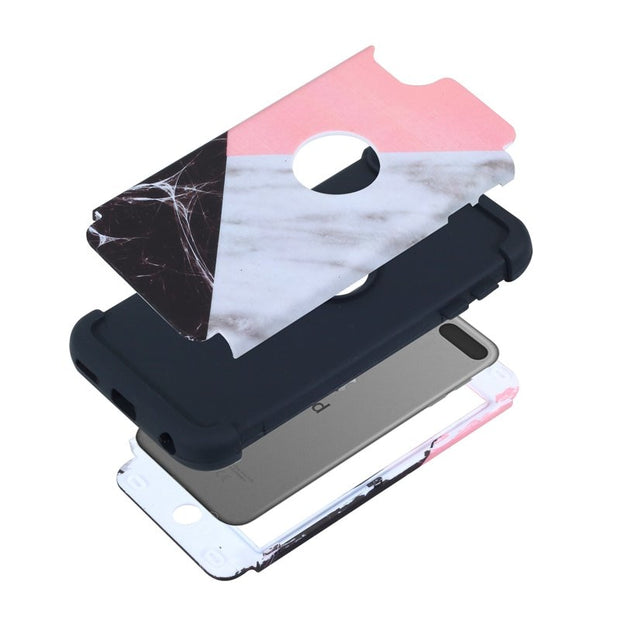 Marble Pattern Ultra Slim Shockproof Fullbody Protective Tough Hybrid Armor Drop Protection Case Cover For Ipod Touch 6