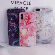 Matcheasy Shiny Sequins Phone Case For IPhone X 6 6S Plus 7 8Plus Glitter Bling Gold Foil Marble Texture TPU+Acylic Back Cover