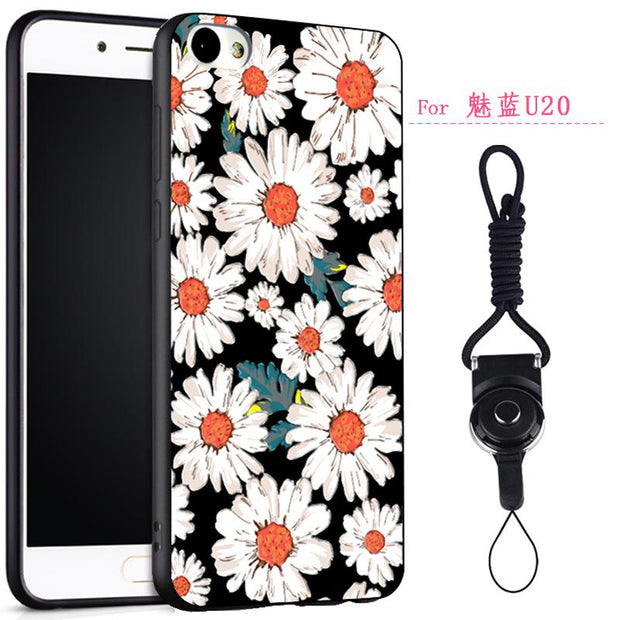 Meizu U10 Phone Cover Case, Fashion 3D Relief Cartoon Painting Case Soft Silicon Protective Cover For Meizu U10 With Free Rope