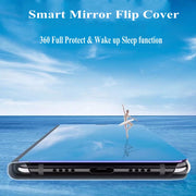 Mirror Smart Case For Huawei P20 Lite Case View PU Leather Kickstand Flip Cover For Huawei P20 Lite Nove 3e Screen Film