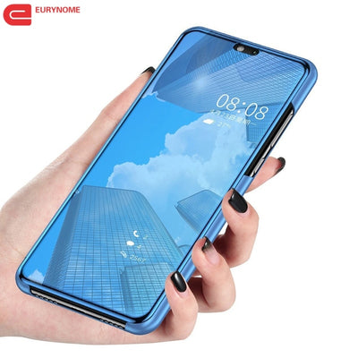 Mirror Smart Case For Samsung Galaxy A9 Star Lite Case View PU Leather Kickstand Flip Cover For Samsung Galaxy A9 Star Case