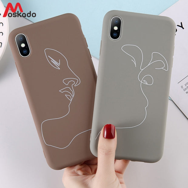 Moskado Abstract Phone Case For Iphone 7 8 6 6S Plus Simple Lines Face Pattern For Iphone X XS Max XR Soft TPU Silicone Cover