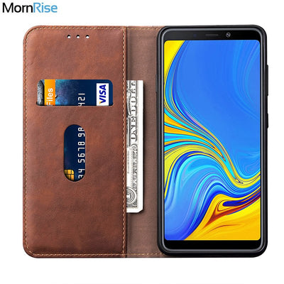 New Luxury Retro Slim Leather Flip Cover For Samsung Galaxy A9 2018 Case Wallet Card Slot Stand Magnetic Book Cover Phone Case