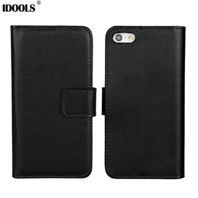 #New Real Genuine Leather Case For IPhone 5 5S Flip Stand Design Phone Back Cover Wallet With Card Slot Book Style Black IDOOLS