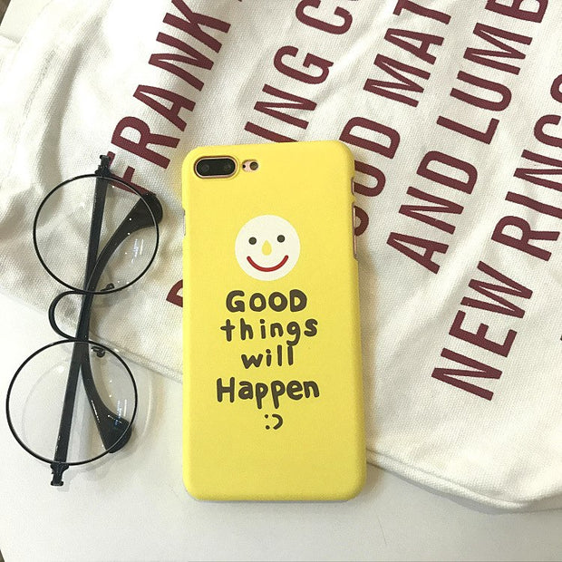 Newest Super Cute Phone Cases For IPhone 7 Case Fashion Smiley Face Matte Hard PC Back Cover For Apple IPhone 6 6s 7 8Plus X