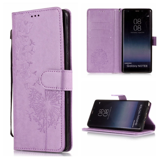 Note 8 Note 9 Flip Cover Wallet Phone Cases For Samsung Galaxy Note 8 Note 9 G360 Lotus Floral Lace Strap Phone Shell