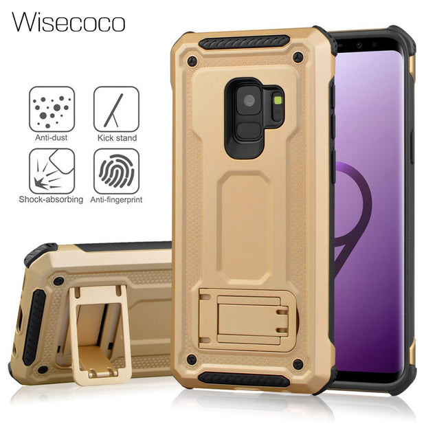 Note 9 Hide Bracket Case For Samsung Galaxy S8 S9 Plus Note 8 9 S7edge Hard PC Armor Shockproof Cover Stand Protect Etui Carcasa