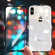 OLAF 360 Magnetic Adsorption Case For IPhone X 8 Plus 7 6 6S + Tempered Glass Back Cover For IPhone 7 8 6 6S Plus X Hard Case