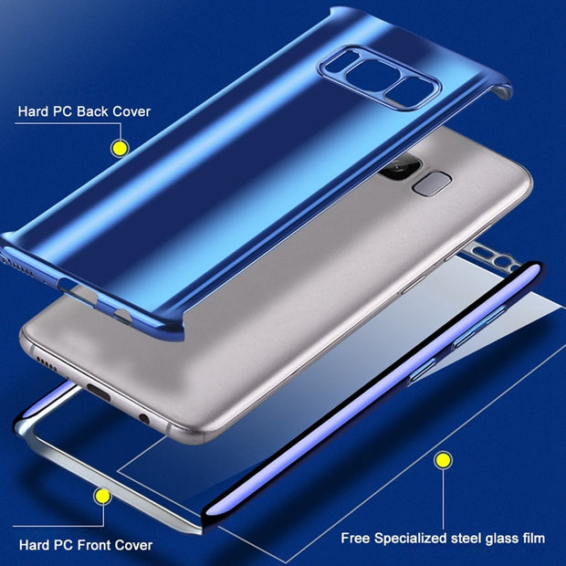 OLLIVAN Glossy Mirror Case For Samsung Galaxy Note 9 Luxury Hard PC Case For Samsung Galaxy S8 Plus 360 Full Cover Protection