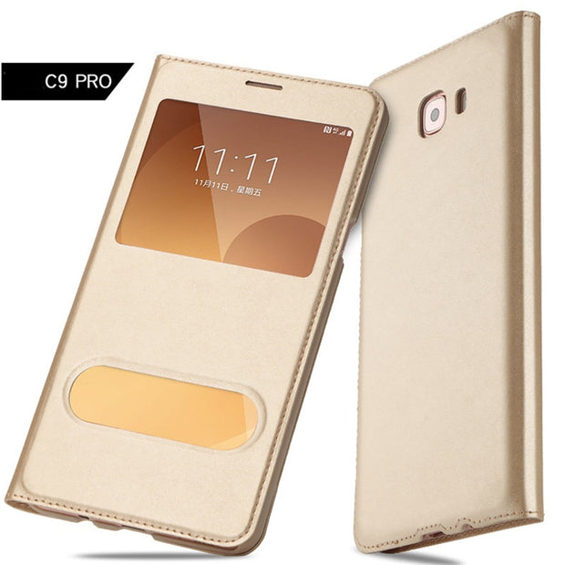 Open Window View Flip Case Cover For Samsung Galaxy C9 Pro C7 C5 2016 Funda Luxury Leather Flip Cases Mobile Phone Coque Shell