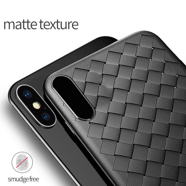 Oppselve Super Soft Case For IPhone X 8 7 Plus Luxury Grid Weaving Case For Samsung S9 Plus S9+ Cover Silicone Accessories Black