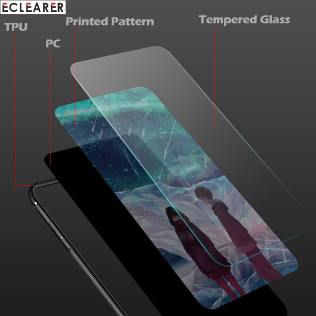 Original Case For IPhone 8 Plus Coque Glass Case For IPhone 7 Luxury Silicone Tempered Glass Back Cover For IPhone 8 7 Plus Case
