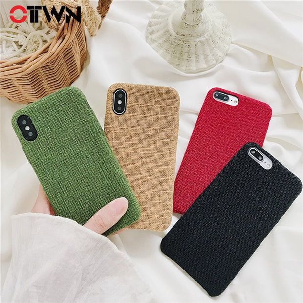 Ottwn Plush Cloth Phone Cases For IPhone 6 6S 7 8 Plus X XR XS Max Soft PU Cover Leather Canvas Fabric Solid For IPhone 7 Cases