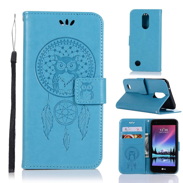 Owl Embossed Wallet Case For LG K4 K 4 2017 Case Leather Flip Cover ForLG  Rebel 2 L57BL L58VL Cover Mobile Phone Shell