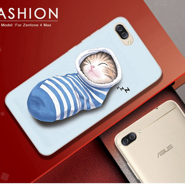 Phone Case For Asus Zenfone 4 MAX ZC554KL Case Silicone Glasses Cat Painted Cover For Zenfone 4 Max ZC554KL Case For 4 Max X015d