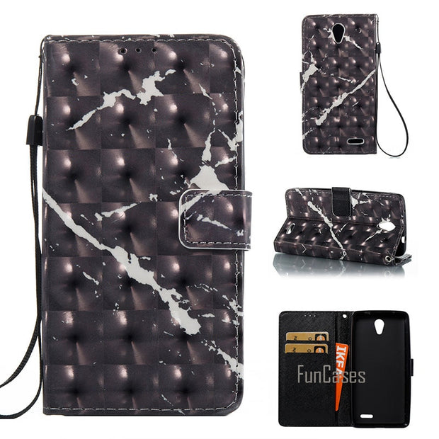 Phone Case For Zte Prestige N9132 3D Marble Stone Granite PU Leather Flip Case + TPU Back Cover Stand Wallet Mobile Phone Bags