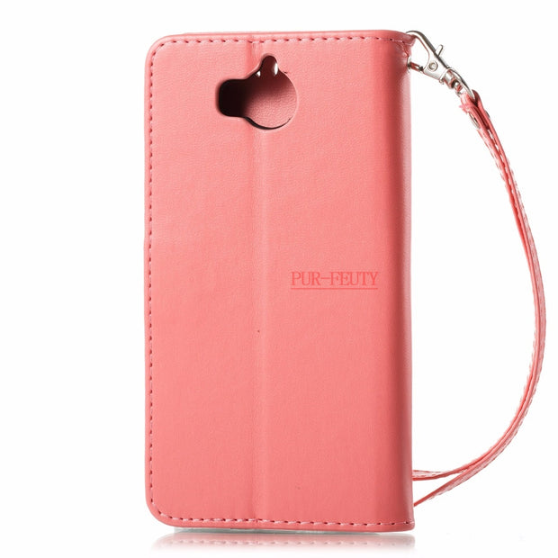 Pink Plum Flip Case For Huawei Y6 2017 MYA-L11 MYA-L41 Y 6 2017 Case Phone Cover For Huawei Nova Young MYA L11 L41 Fitted Cases