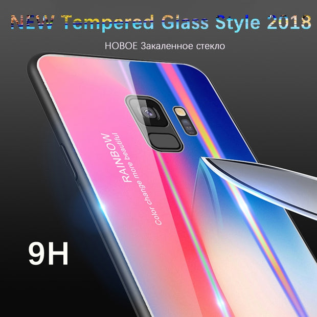 Rainbow Luxury Phone Case For Huawei P20 Xiaomi 8 Samsung S9 Plus Note 9 Gradient Aurora Back Cover Shell Full Case Coque China