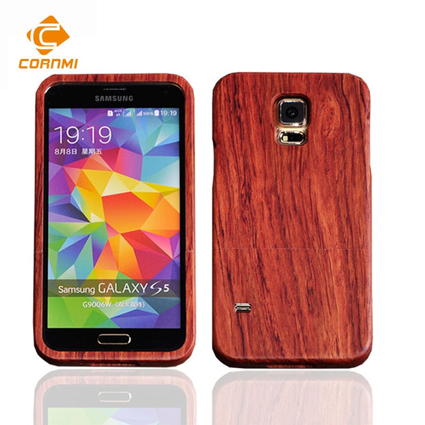 Retro Bamboo Wood Phone Cases For Samsung Galaxy S5 G9006V Back Cover Hard Rosewood Walnut Wood Wooden Shell Housing For CORNMI
