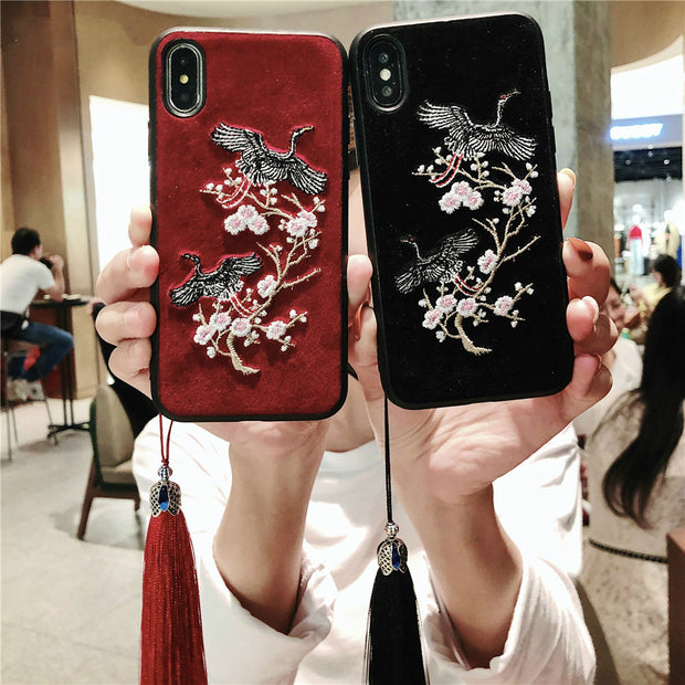 Retro Chinese Style Embroidery Flower Crane Silicone Phone Case For Huawei Mate 9 10 P20 Pro P10 Nova3 Honor 10 Case With Tassel