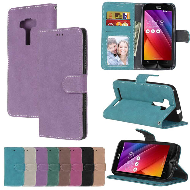 Retro Matte Leather Case For Asus ZenFone 3 Deluxe ZS570KL Cover Filp Stand Classical PU Wallet Photo Frame Card Slot Phone Bags