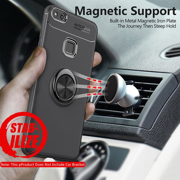 Ring Holder Case For Huawei P10 Lite Case Armor Protective Bumper Finger Magnet Matte Silicone Cover For Huawei P10 Lite Case