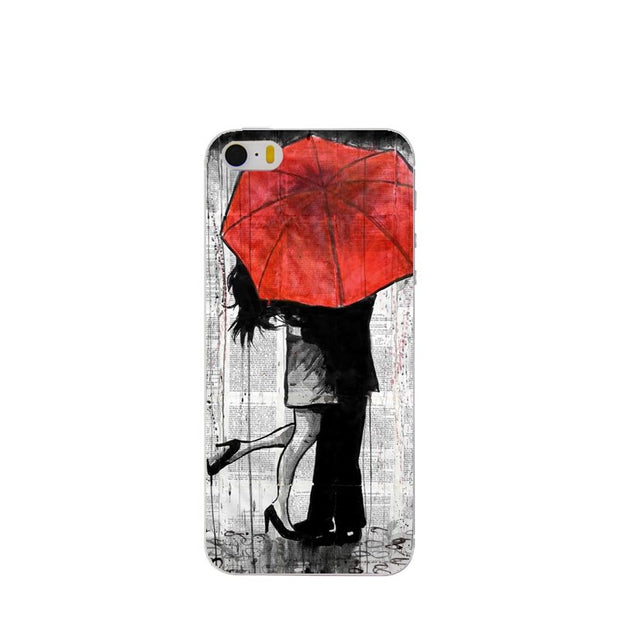 Romantic Umbrella Girl Cover For Apple IPhone 4 4s 5 5s SE 5c 6 6s 7 7 Plus Case Clear Matte Phone Shell