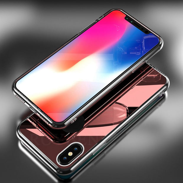 Roybens For IPhone 7 8 Plus Case Luxury Ultra Thin Silicone Rubber Bling Mirror Back Cover For IPhone X / 5s / 6 / 6 Plus Coque