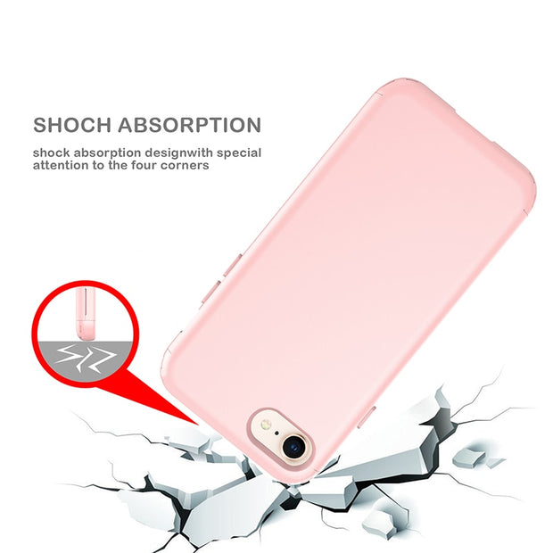 Rubber Heavy Duty Cover For IPhone 8 8plus TPU Silicon PC Shockproof Slim Case Anti-Fall Strong Impact