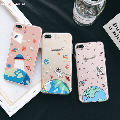 STROLLIFE New Cartoon Space Phone Case For IPhone X XS Max XR Cute Moon Cover For IPhone 8 6s 7 Plus Soft TPU Clear Shell Rocket