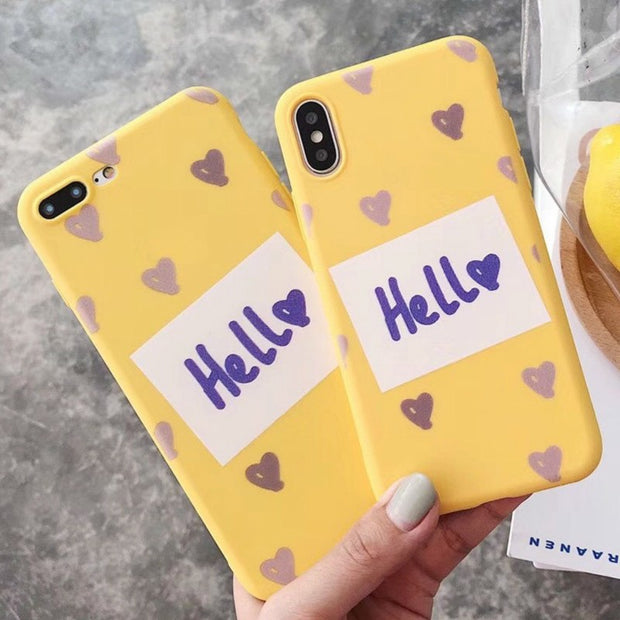 a976eebd70 SUEF New Korean Style Love Hello Yellow Plain Pattern Minimalism TPU Back  Cover Protection Case For