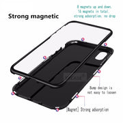 SYCASE Magneto Phone Case For Xiaomi Mi8 Mi 8SE Magnet Absorption Shell Metal Bumper Anti-Scratch Tempered Glass Back Cover
