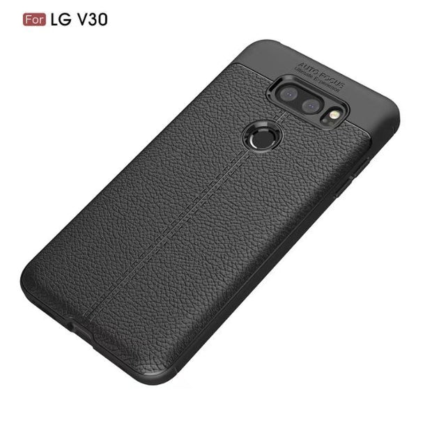 Scratch Resistant Litchi Pattern Soft ShockAbsorption Soft TPU Case Protection Cover For LG V30