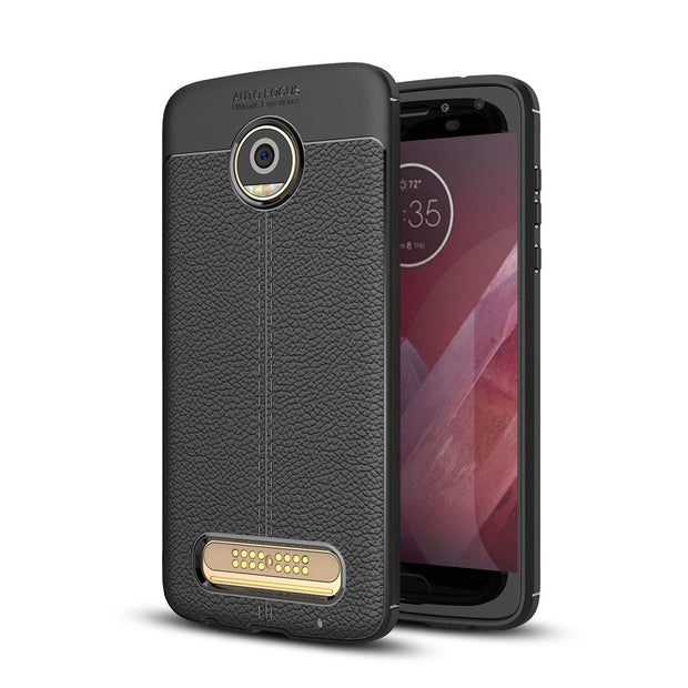 Scratch Resistant Litchi Pattern Soft ShockAbsorption Soft TPU Case Protection Cover For Moto Z2 Play