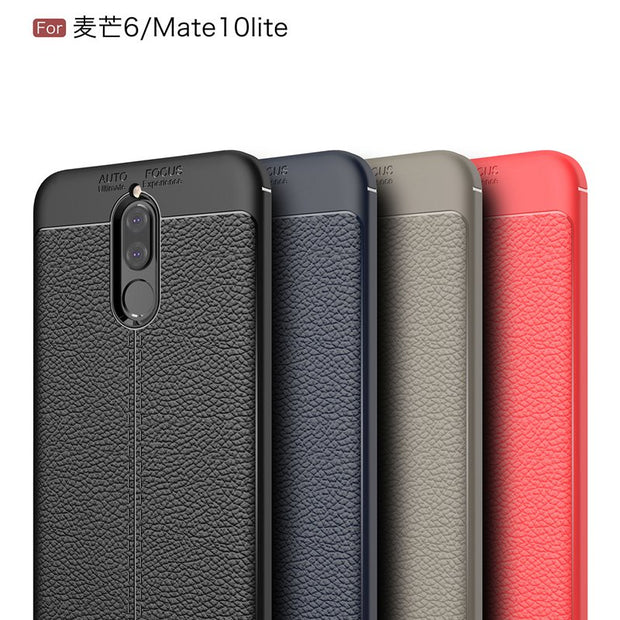 Scratch Resistant Litchi Soft ShockAbsorption Soft TPU Case Protection Cover For Huawei Maimang 6/Mate 10 Lite/Nova 2i/H