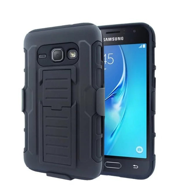 ShockProof Heavy Duty Armour Tough Stand Case Cover With Belt Clip For Samsung J1 2016 J120