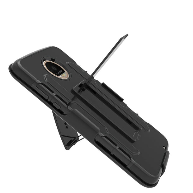 ShockProof Heavy Duty Armour Tough Stand Case With Belt Clip For Motorola Moto Z2 Play