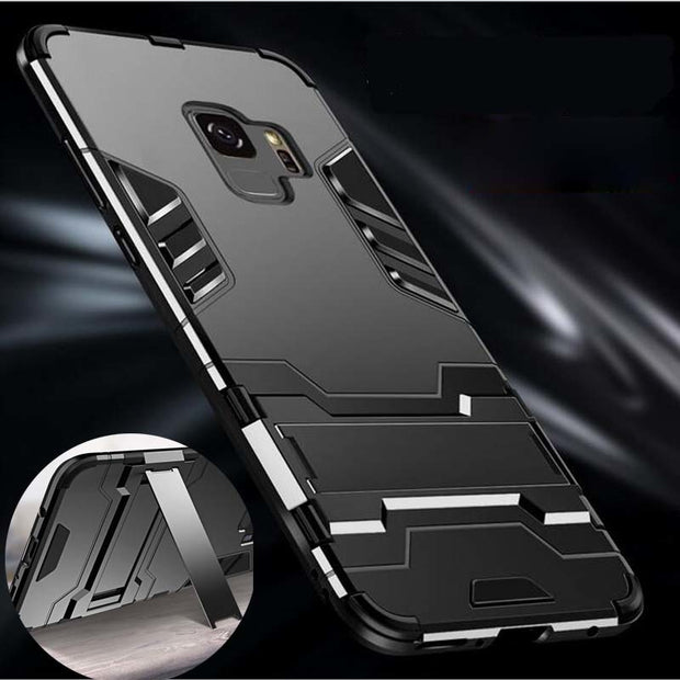 Shockproof Armor Invisible Bracket Case For Samsung S9 Plus S8 Plus S6 S7 Edge Note8 Note9 A3 A5 A7 A8 J3 PC+Silicon Stand Case