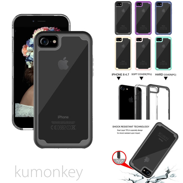 "Shockproof Extra Transparent Heavy Duty Hard Protection Hybrid Durable Case For IPhone 8 4.7""/8 Plus 5.5"""
