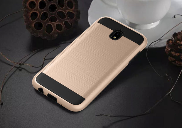 Shockproof Impact Resist Case Metallic Brush Finish Hard Inner Layer For Samsung Galaxy J3 2017 J330/j5 2017 J530/j7 2017 J730