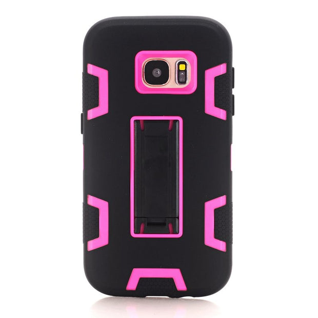Shockproof Stand 3 In 1 Hybrid Silicone Hard Combo High Impact Case Cover For Samsung Galaxy S7/Galaxy S7 Edge