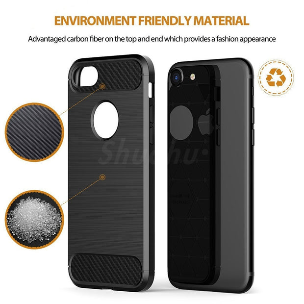 Shuohu Carbon Silicon Phone Cases For Iphone 7 6 6S Plus Case Luxury Shockproof Silicone For Iphone 5 5S SE 8 Plus Case Cover