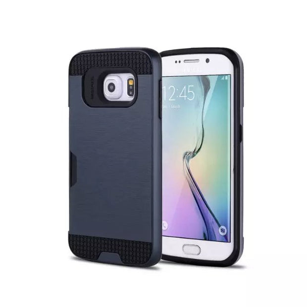 Slim Fit Protective Case Built-in Credit Card/ID Slot Brushed Metal Texture For SAMSUNG GALAXY S4/S5/S6/S6 EDGE/S7/S7 EDGE